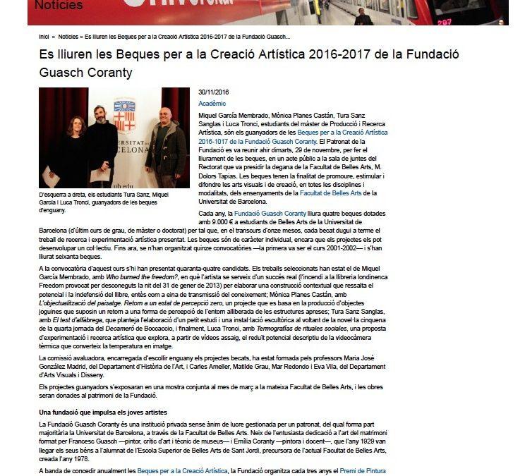 LLIURAMENT BEQUES PER A LA CREACIÓ ARTÍSTICA FUNDACIÓ GUASCH CORANTY (UNIVERSITAT DE BARCELONA)