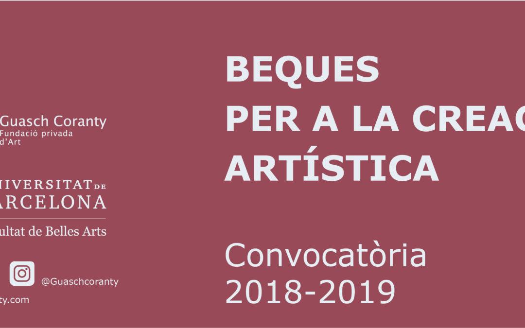 Convocatòria  Beques per a la creació artística 2018-2019 Guasch Coranty