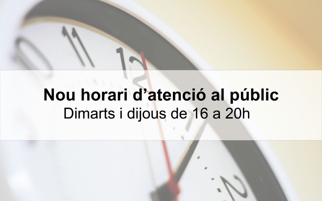 Nou horari d'atenció al públic